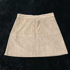 Taupe suede miniskirt